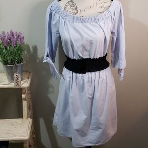Linen light blue elastic neck & waist 14 dress